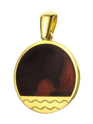 Оригинальный кулон из золочённого серебра и янтаря вишнёвого цвета «Монако». Янтарь®, фото
