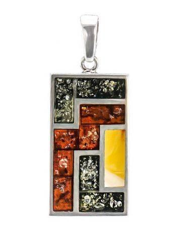 Великолепный кулон из серебра и натурального янтаря трёх цветов London, фото