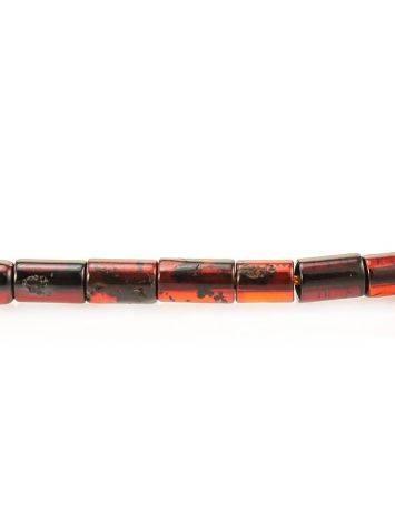 Плоское колье из натурального балтийского янтаря вишнёвого и лимонного цветов «Клеопатра», фото , изображение 6