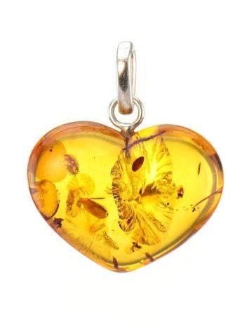Кулон «Сердце» из светлого каленого янтаря с искорками, фото , изображение 5