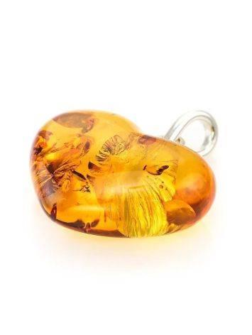Кулон «Сердце» из светлого каленого янтаря с искорками, фото , изображение 2