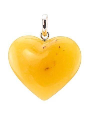 Крупный кулон из натурального медового янтаря с пейзажной текстурой «Сердце», фото , изображение 5