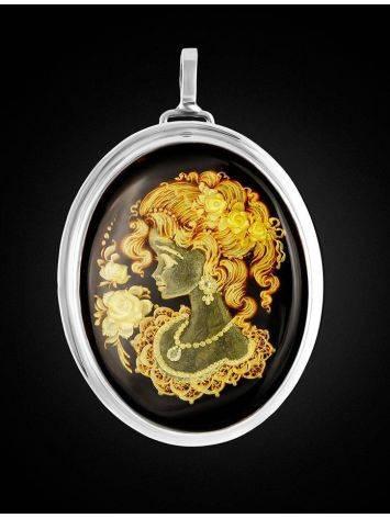 Уникальная подвеска-брошь из серебра и натурального янтаря с инталией «Элинор», фото , изображение 3