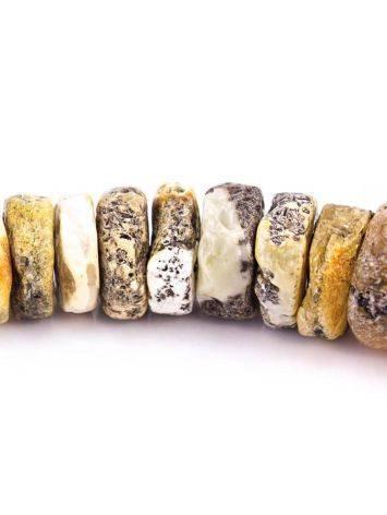 Бусы из натурального янтаря «Шайбы светлые дикие», фото , изображение 4