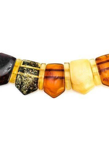 Изысканное плоское колье «Клеопатра» из натурального балтийского янтаря разных цветов, фото , изображение 2