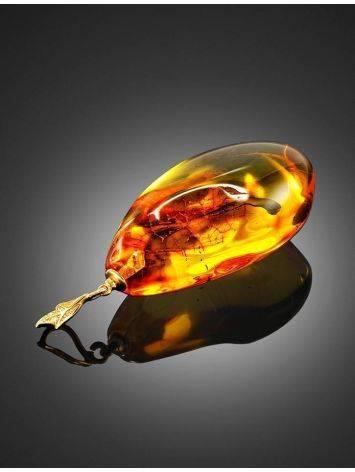 Подвеска из полупрозрачного золотистого янтаря с включением мухи, фото , изображение 4