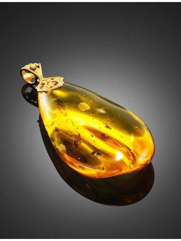 Крупный кулон из янтаря в форме капельки с включениями насекомых, фото , изображение 3