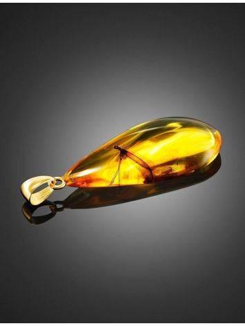 Подвеска-капля из натурального янтаря с крупным включением «Клио», фото , изображение 3
