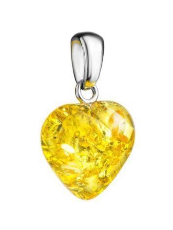 Кулон из натурального искрящегося янтаря «Сердце лимонное», фото , изображение 3