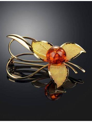 Красивая позолоченная брошь, украшенная натуральным балтийским вишнёвым янтарём Beoluna, фото , изображение 2