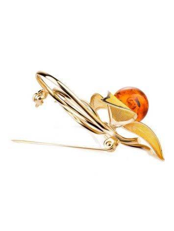 Красивая позолоченная брошь, украшенная натуральным балтийским вишнёвым янтарём Beoluna, фото , изображение 3
