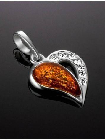 Красивый кулон из серебра и натурального цельного янтаря «Сердце с искрами», фото , изображение 2