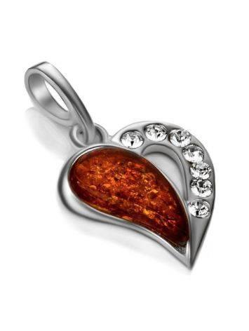 Красивый кулон из серебра и натурального цельного янтаря «Сердце с искрами», фото , изображение 3