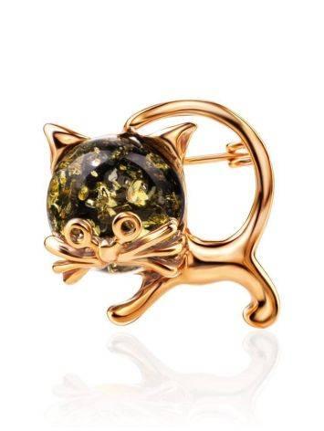 Брошь в виде котёнка из позолоченного серебра и зелёного янтаря «Чешир», фото