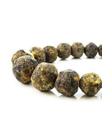 Необычные объёмные бусы из натурального балтийского янтаря «Метеорит черный крупный», фото , изображение 5