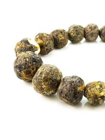 Необычные объёмные бусы из натурального балтийского янтаря «Метеорит черный крупный», фото , изображение 3