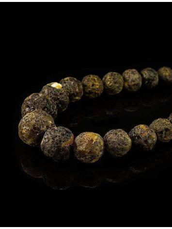 Необычные объёмные бусы из натурального балтийского янтаря «Метеорит черный крупный», фото , изображение 2