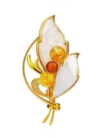 Элегантная брошь с эмалевым покрытием, украшенная цельным янтарём Beoluna, фото