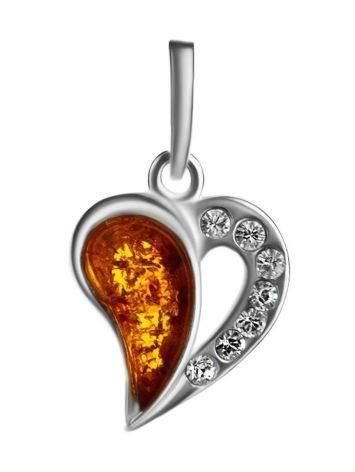 Красивый кулон из серебра и натурального цельного янтаря «Сердце с искрами», фото