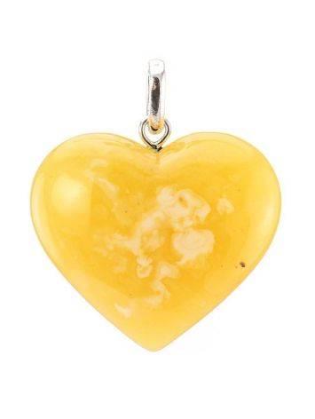 Крупный кулон из натурального медового янтаря с пейзажной текстурой «Сердце», фото