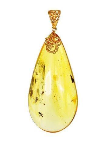 Крупный кулон из янтаря в форме капельки с включениями насекомых, фото