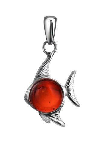 Кулон и серебра и ярко-вишнёвого янтаря «Котопёс. Рыбка», фото