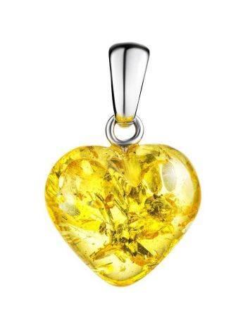 Кулон из натурального искрящегося янтаря «Сердце лимонное», фото