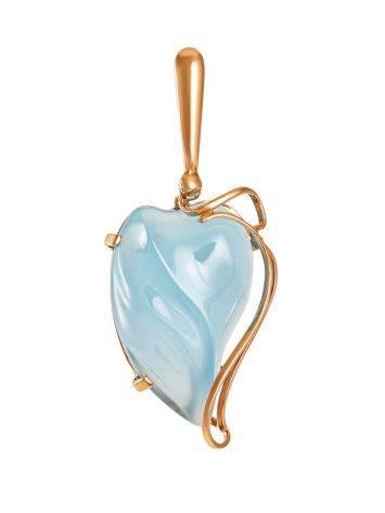Кулон из золота с нежно-голубым халцедоном «Серенада», фото