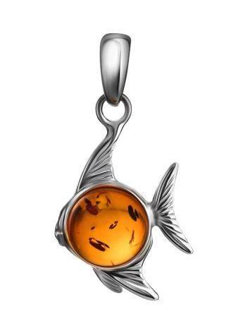 Кулон «Котопёс. Рыбка» из серебра и натурального коньячного янтаря, фото