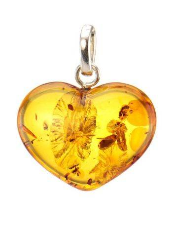Кулон «Сердце» из светлого каленого янтаря с искорками, фото