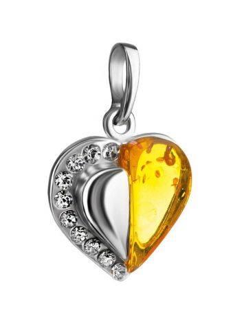 Кулон в форме сердца из серебра и натурального коньячного янтаря, украшенный кристаллами, фото