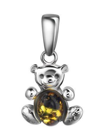 Миниатюрный кулон из серебра и зелёного янтаря «Котопёс. Медвежонок», фото