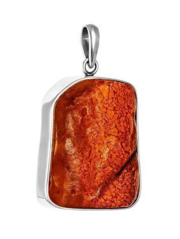 Объёмный кулон из натурального янтаря в серебре «Неолит», фото
