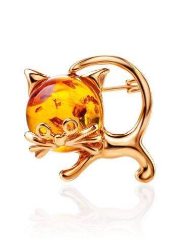 Очаровательная брошь из золочённого серебра с янтарём «Чешир», фото