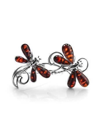 Яркая брошь «Стрекоза» из серебра и натурального балтийского янтаря вишнёвого цвета, фото