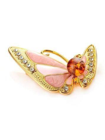 Замечательная брошь в виде бабочки, покрытая эмалью с янтарём и кристаллами Beoluna, фото