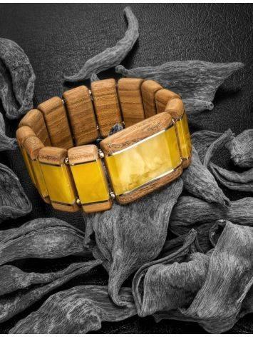 Необычный деревянный браслет с натуральным балтийским янтарём и серебром «Индонезия», фото , изображение 2