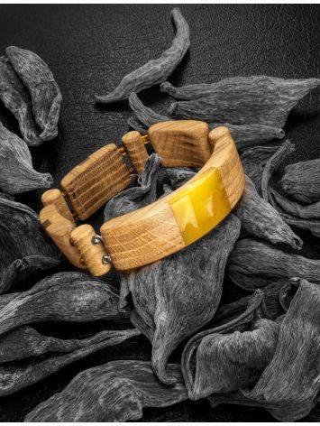 Браслет «Индонезия» из дерева с натуральным цельным янтарём, фото , изображение 2