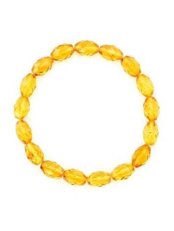 Яркий сверкающий браслет из натурального балтийского лимонного янтаря «Оливка алмазная», фото , изображение 3