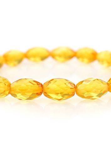 Яркий сверкающий браслет из натурального балтийского лимонного янтаря «Оливка алмазная», фото , изображение 2