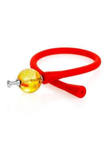 Яркий красный браслет из силикона с янтарной бусиной-проставкой «Гавайи», фото , изображение 3