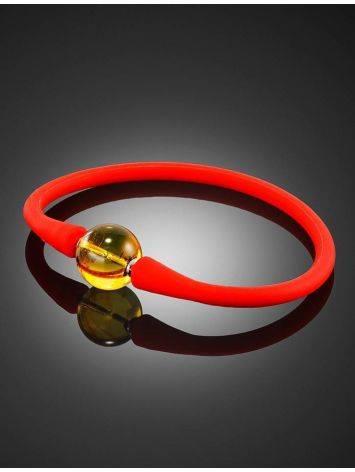 Яркий красный браслет из силикона с янтарной бусиной-проставкой «Гавайи», фото , изображение 2