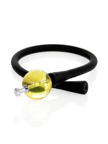 Чёрный силиконовый браслет с янтарной проставкой «Гавайи», фото , изображение 3
