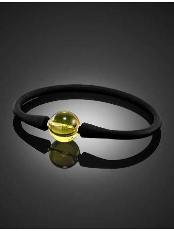 Чёрный силиконовый браслет с янтарной проставкой «Гавайи», фото , изображение 2