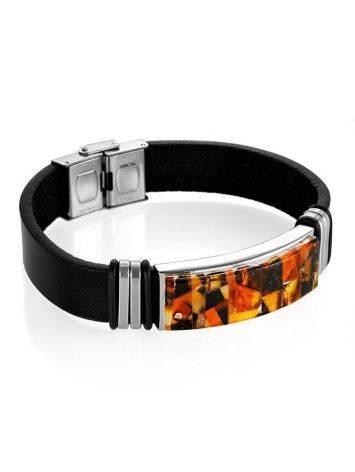 Кожаный браслет, украшенный янтарной мозаичной вставкой «Сильверстоун», фото , изображение 3