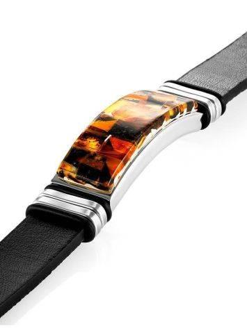 Кожаный браслет, украшенный янтарной мозаичной вставкой «Сильверстоун», фото , изображение 4