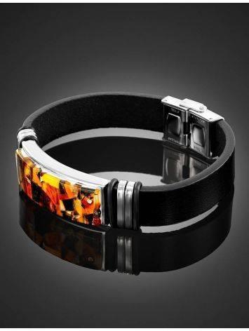 Кожаный браслет, украшенный янтарной мозаичной вставкой «Сильверстоун», фото , изображение 2