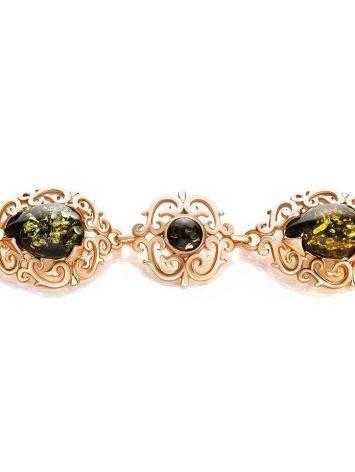 Изысканный позолоченный браслет с натуральным зелёным янтарём «Луксор», фото , изображение 3