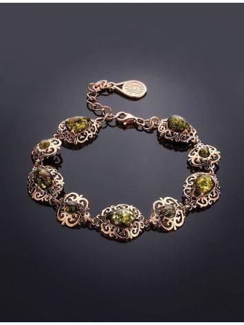 Изысканный позолоченный браслет с натуральным зелёным янтарём «Луксор», фото , изображение 2