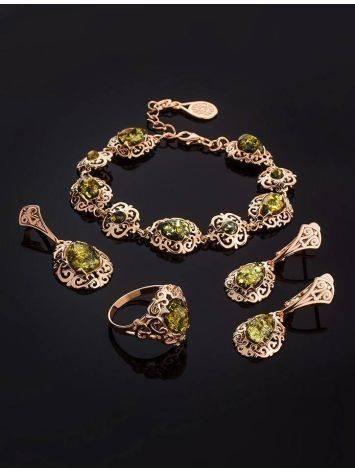 Изысканный позолоченный браслет с натуральным зелёным янтарём «Луксор», фото , изображение 4